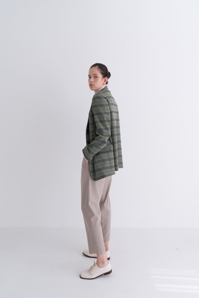 NOTA Vintage Check Daily Jacket Green Modest Loose Women Green & Black Checkered Blazer with Front Buttons and Pockets