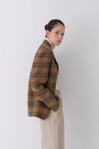 NOTA Reversible Handmade Check Wool Jacket Brown Modest Loose-Fitted Checkered Outerwear With Long Sleeves, Pockets, Front Buttons, Lapel Collar