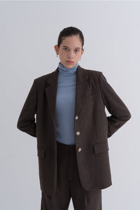 NOTA Natural Mannish Basic Wool Jacket Brown Modest Long-Sleeved Relaxed Fit Women's Outerwear With Front Pockets, Lapel Collar