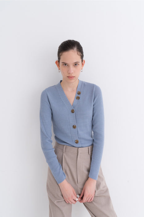 NOTA Daily Button Golgi Cashmere Cardigan Skyblue Modest Ribbed V-Neck Women Front Buttons, Long Sleeves
