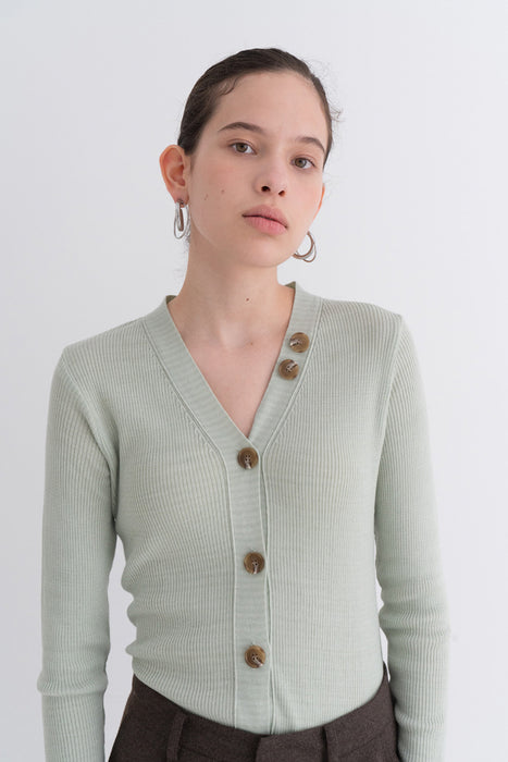 NOTA Daily Button Golgi Cashmere Cardigan Mint Modest Ladies Long Sleeves, V-Neck, Front Buttons