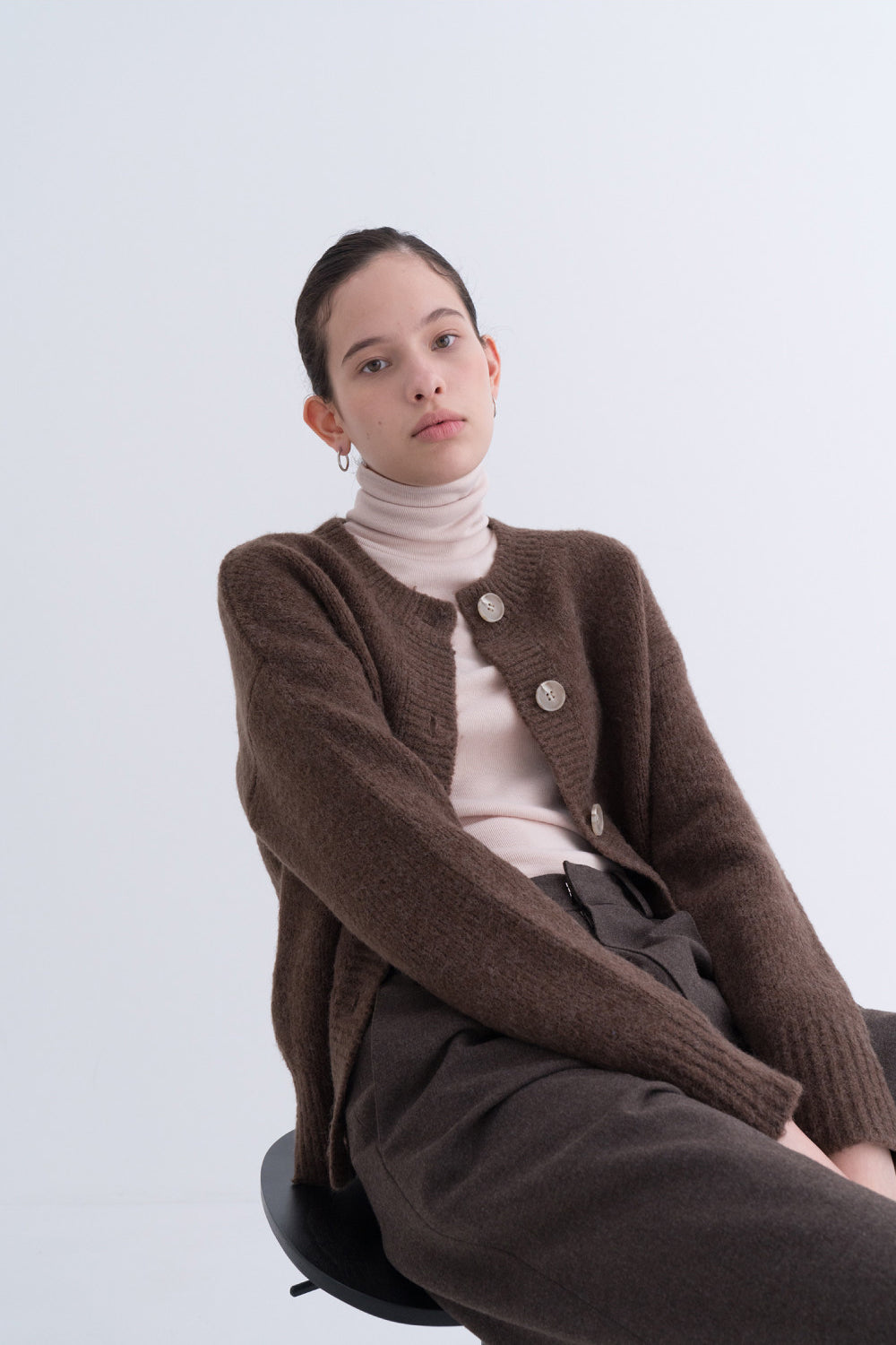 NOTA Yak Soft Cardigan Sky Brown Modest Long-Sleeve Women Loose Knitwear, Front Buttons, Round Neckline in Wool and Yak