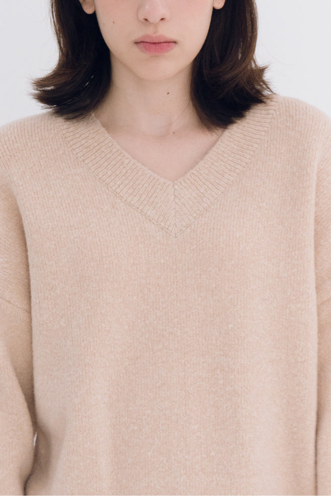 NOTA V Neck Yak Semi Crop Knit Top Beige Modest Loose Long Sleeves Women's Sweater in Wool