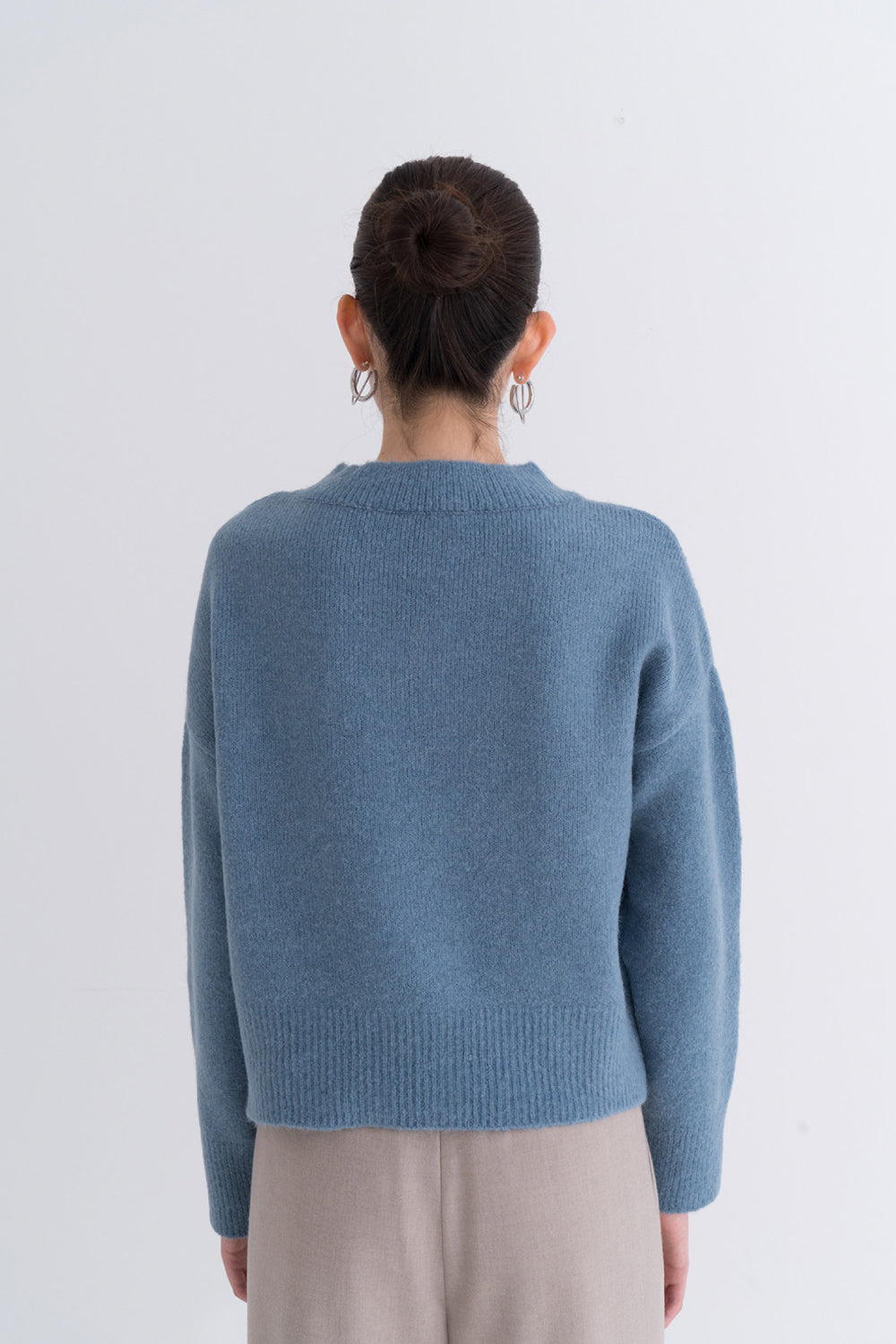 NOTA V Neck Yak Semi Crop Knit Top Blue Modest Loose Women Sweater With Long Sleeves in Wool and Yak