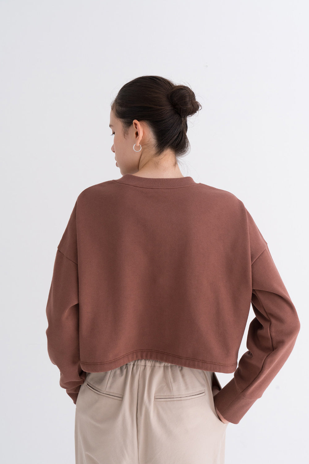NOTA Essential Bottom String Mtm Brown Modest Loose-Fitting Ladies Top With Drawstring Hemline, Round Neck, Long Sleeves