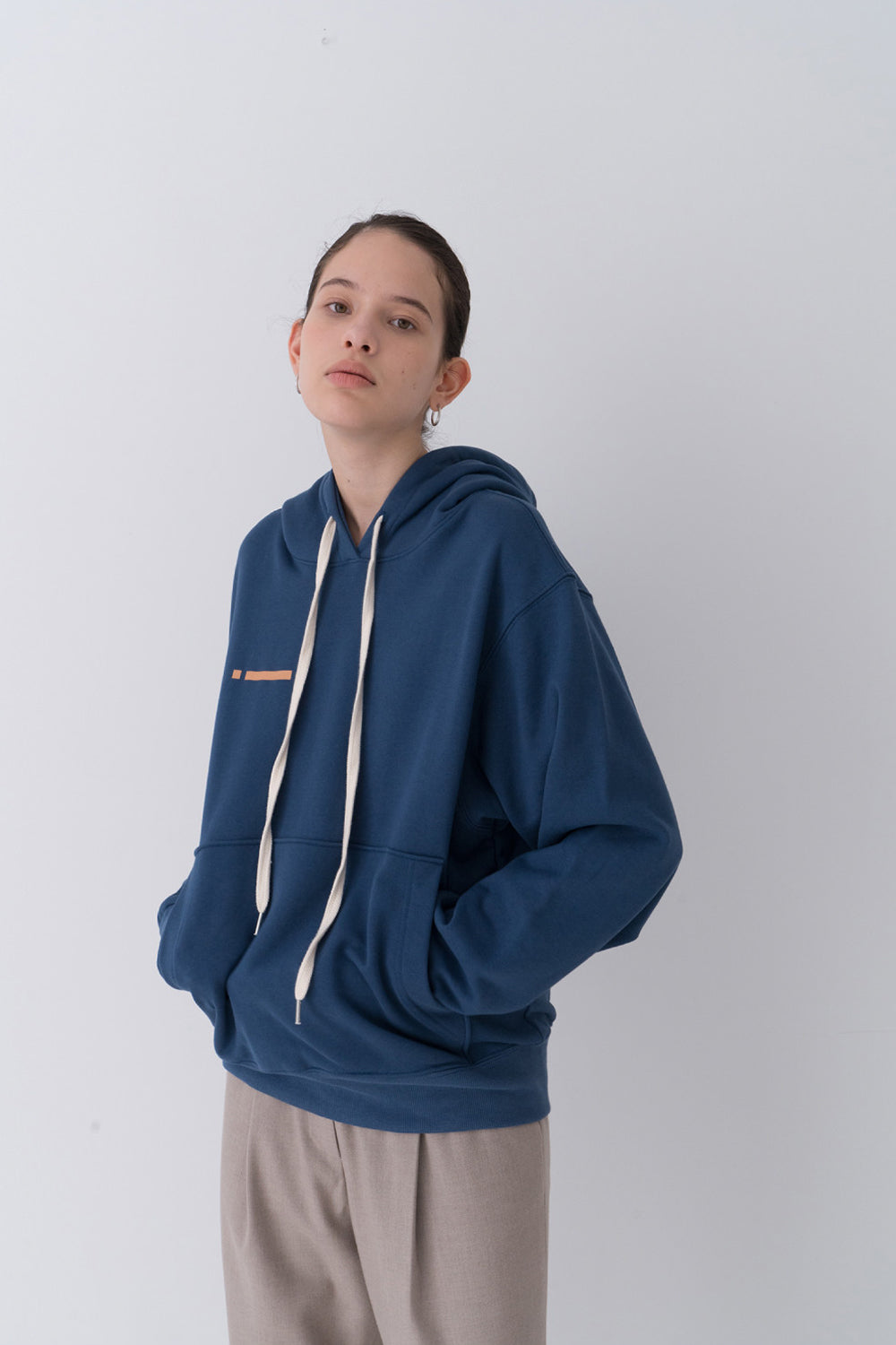 NOTA Signal String Hood Blue Modest Long-Sleeve Women's Sweater with Front Pockets, Hoodie, Loose Fit 100% Cotton