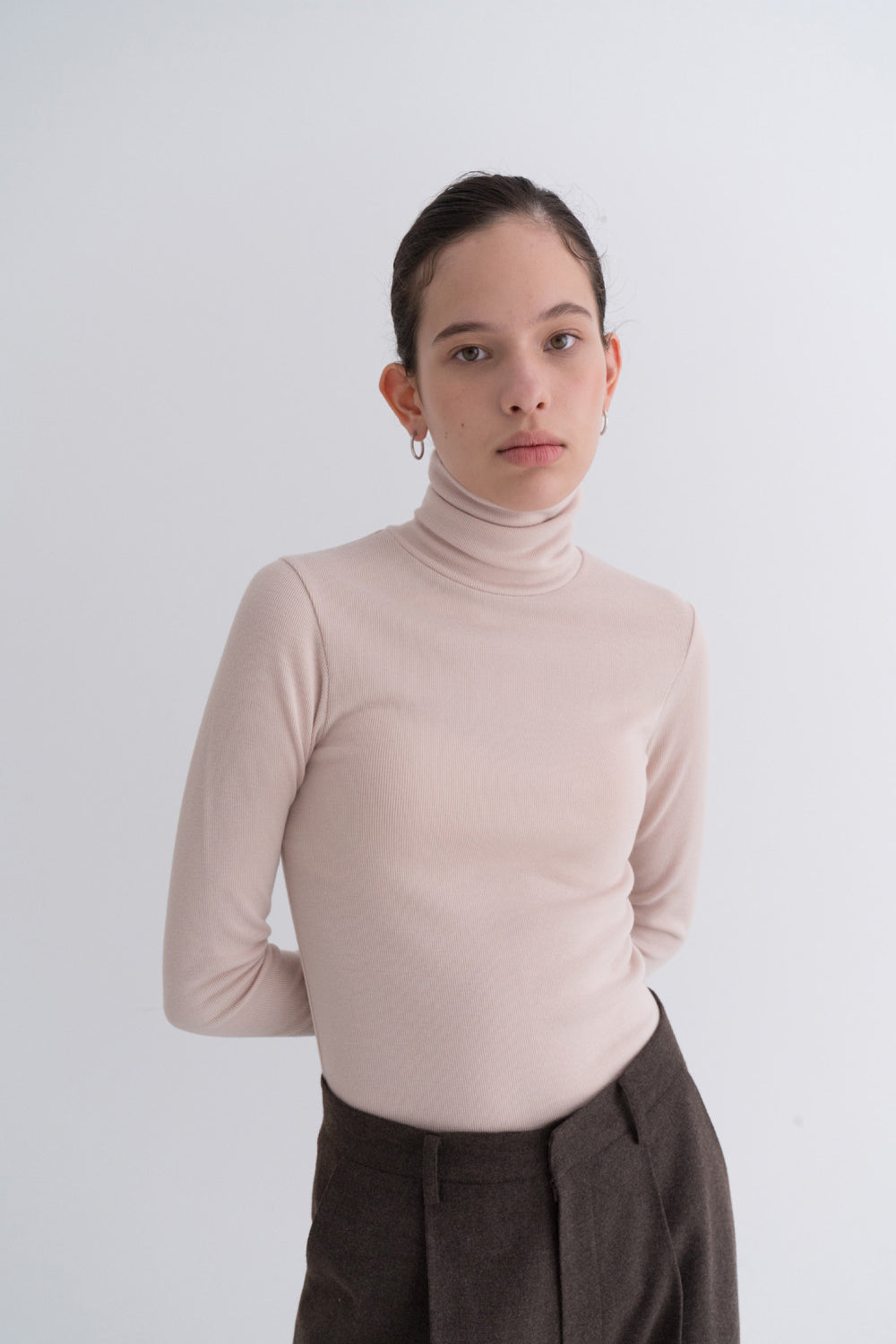 NOTA Simple Golgi Turtleneck Beige Modest Long-Sleeve Women's Polo Neck Top in Nude