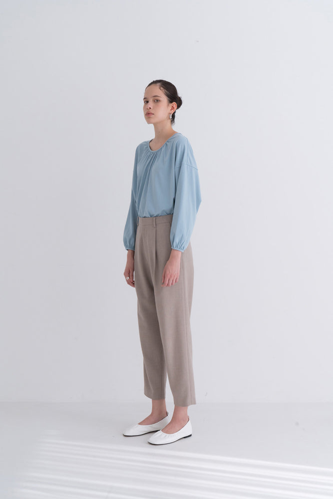 NOTA Double Shirring Cotton Sky Blue Modest Loose-Fitting Women's Top With Pleated Neckline and Cuffs, Loose Long Sleeves