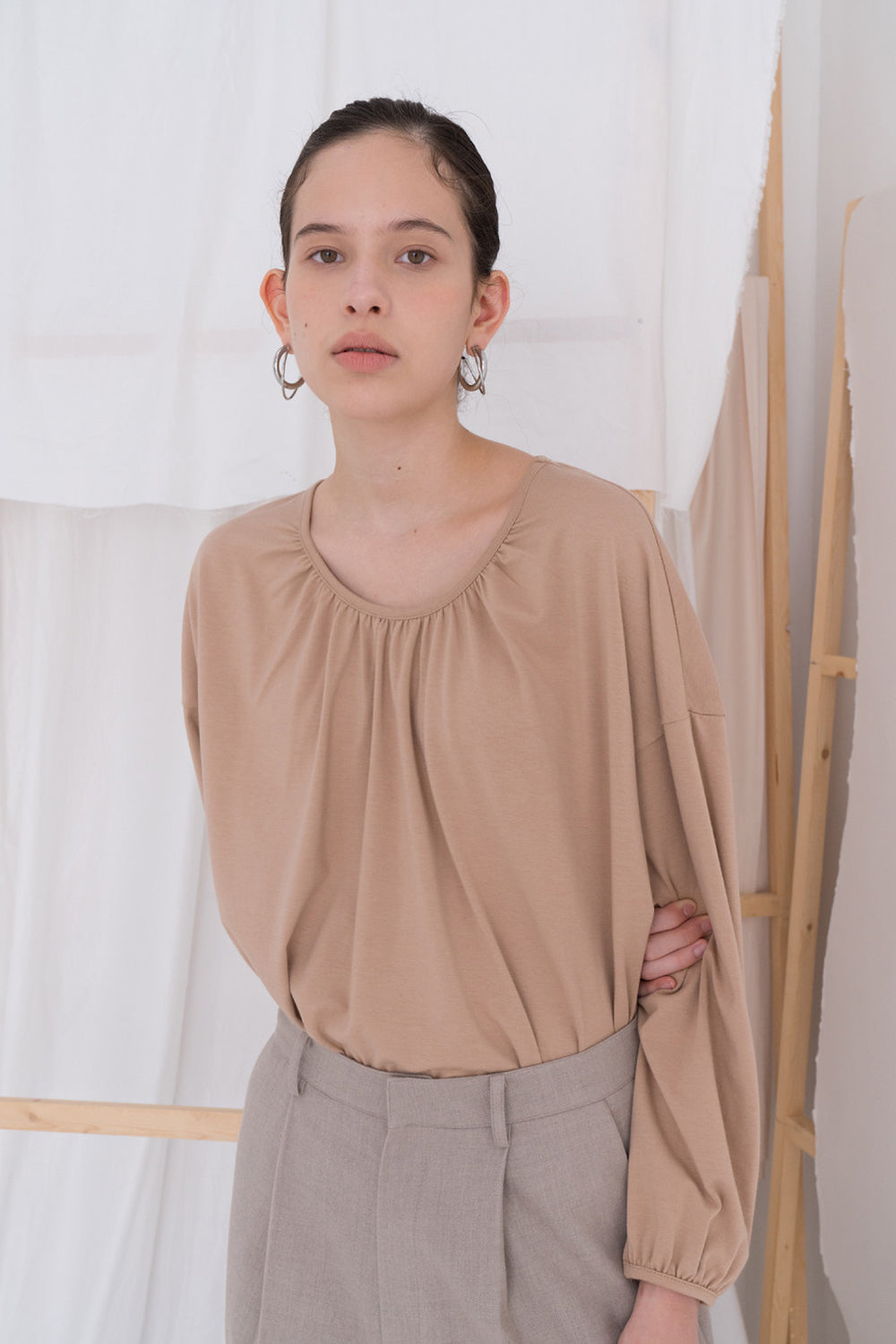 NOTA Double Shirring Cotton Top Sand Modest Loose-Fitted Long-Sleeved Ladies' Long Top With Pleated Neckline and Cuffs