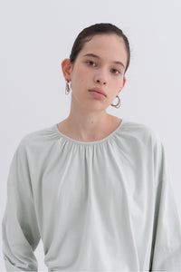 NOTA Double Shirring Cotton Top Mint Modest Long-Sleeved Women's Long Top With Pleated Neckline and Cuffs, Loose Fit
