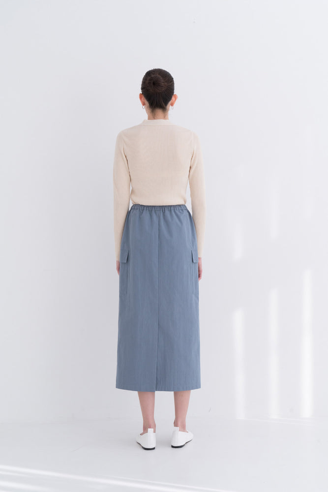 NOTA Twin Pocket String Skirt Sky Blue Modest Midi Skirt With Adjustable Drawstring Waistband and Two Pockets With Flaps in Cotton and Nylon