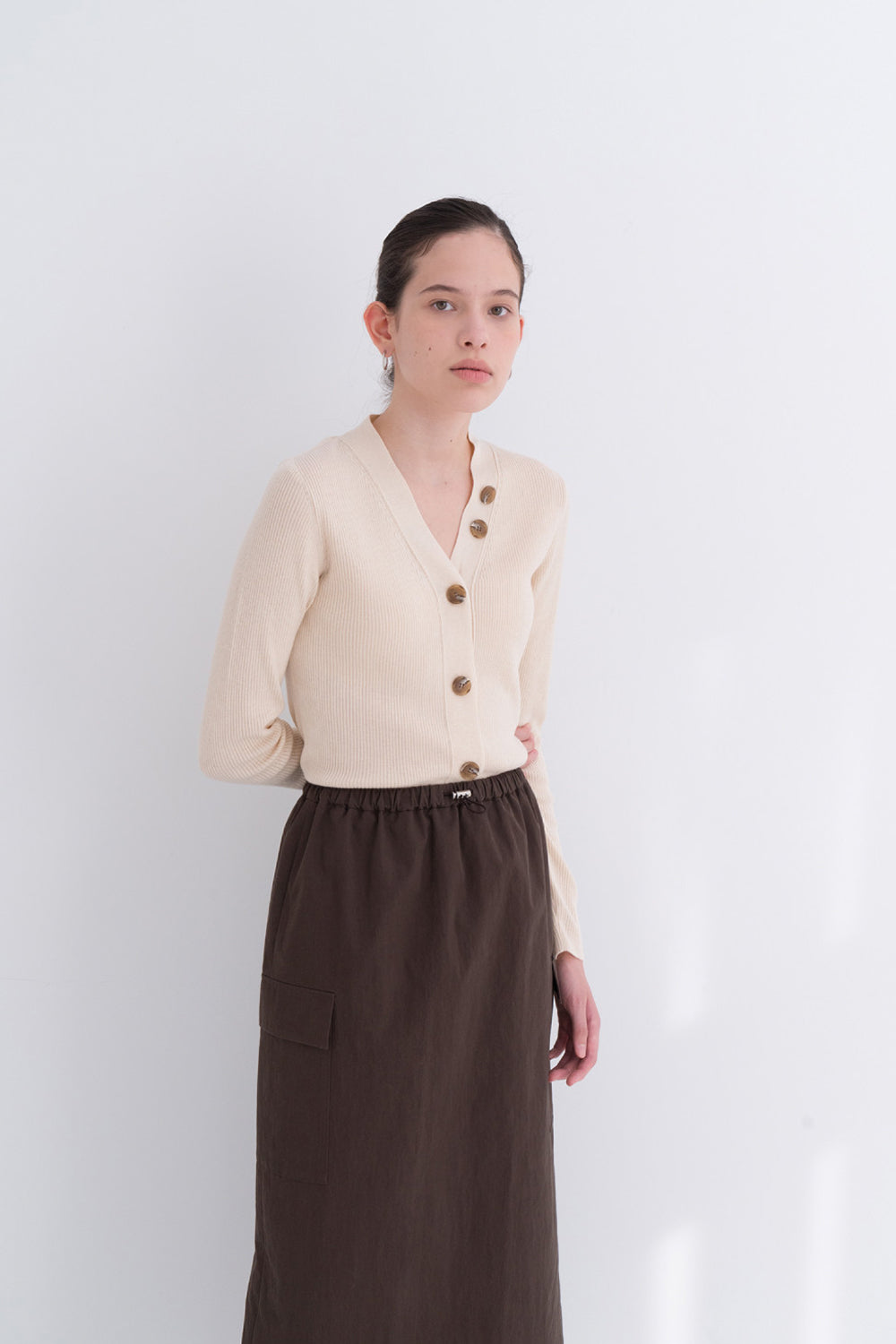 NOTA Twin Pocket String Skirt Brown Modest Below-The-Knee Length Skirt With Elastic Waistband and Side Pockets in Cotton and Nylon
