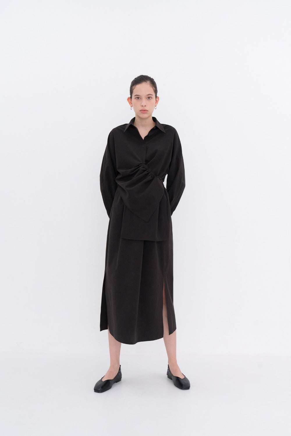 NOTA String Shirring Unbalance Shirt Black Modest Long-Sleeve Women's Long Formal Top with Asymmetric Front Drape Loose Fit 100% Cotton