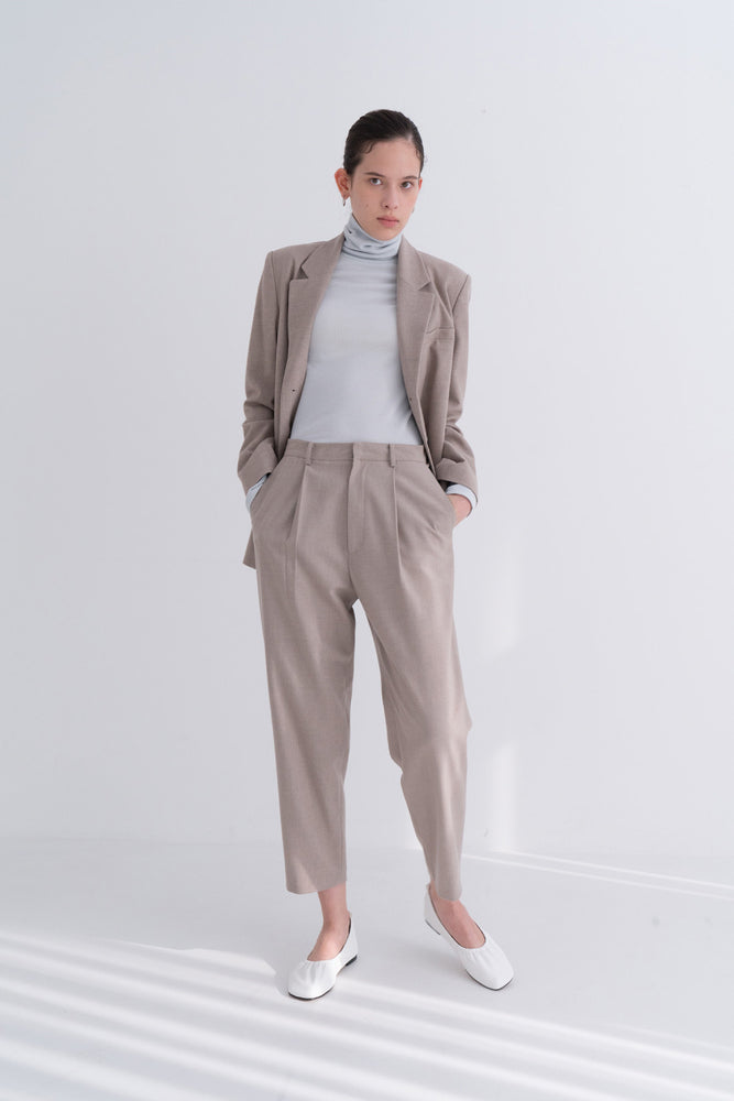 NOTA Comfy Pintuck Wool Pants Oatmeal Modest Ladies Loose Long Trousers with Pockets in Beige
