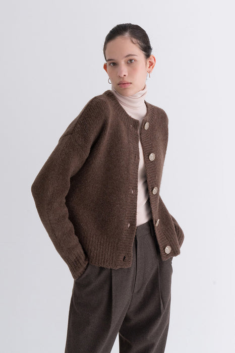 NOTA Yak Soft Cardigan Sky Brown Modest Long-Sleeved Women's Jacket Relaxed Fit, Front Buttons, Round Neckline