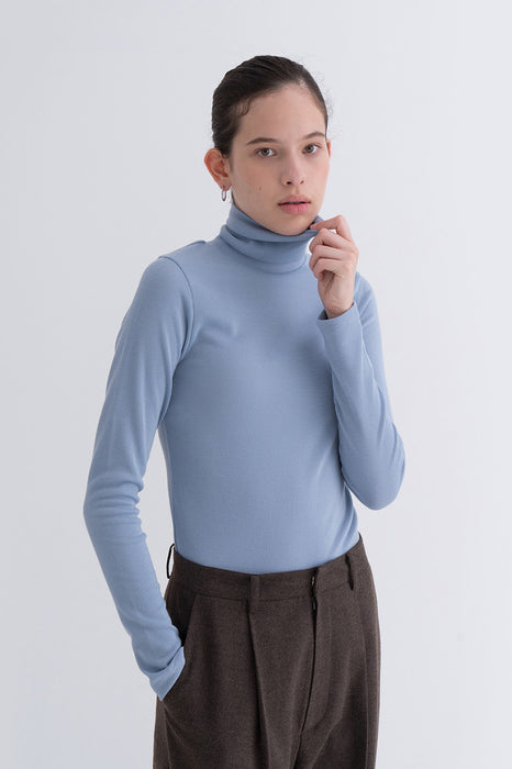 NOTA Simple Golgi Turtleneck Skyblue Modest Basic Polo Neck Women Top Long Sleeves