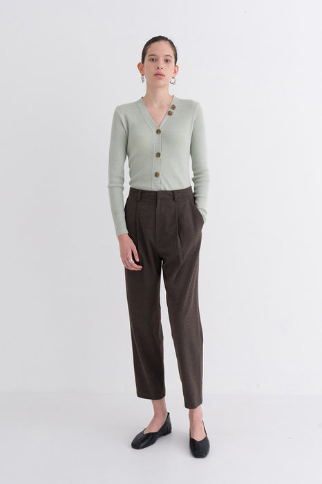 NOTA Comfy Pintuck Wool Pants Brown Modest Long Women's Trousers with Pockets