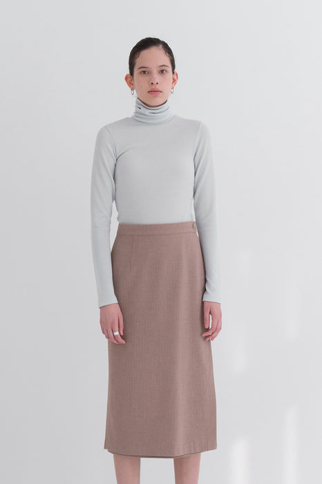 NOTA Herringbone Button Wrap Skirt Brown Modest Long Midi Skirt With Side Slit, Side Buttons, Below-The-Knee Length