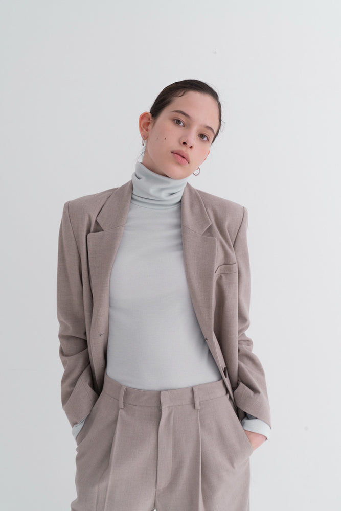 NOTA Simple Golgi Turtleneck Mint Modest Ladies Polo Neck with Long Sleeves and High Neckline Top