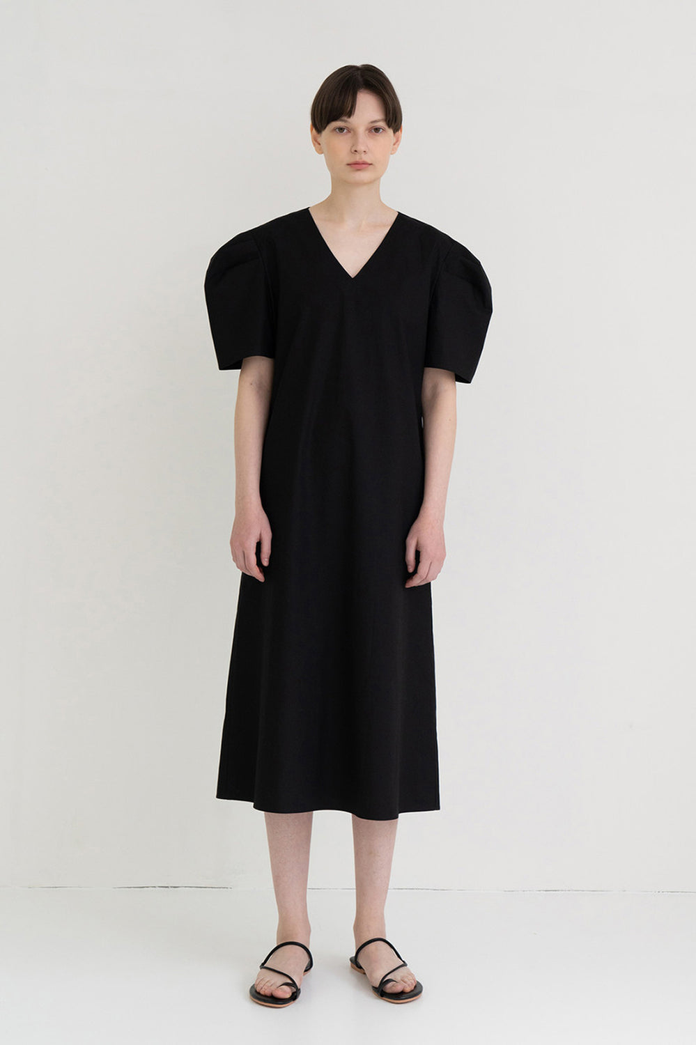 Mono Puff Long Dress Black