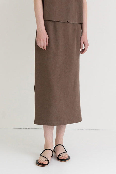 Linen A-line Skirt Brown