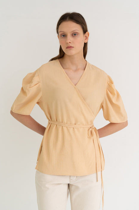 Texture Puff Wrap Top Beige