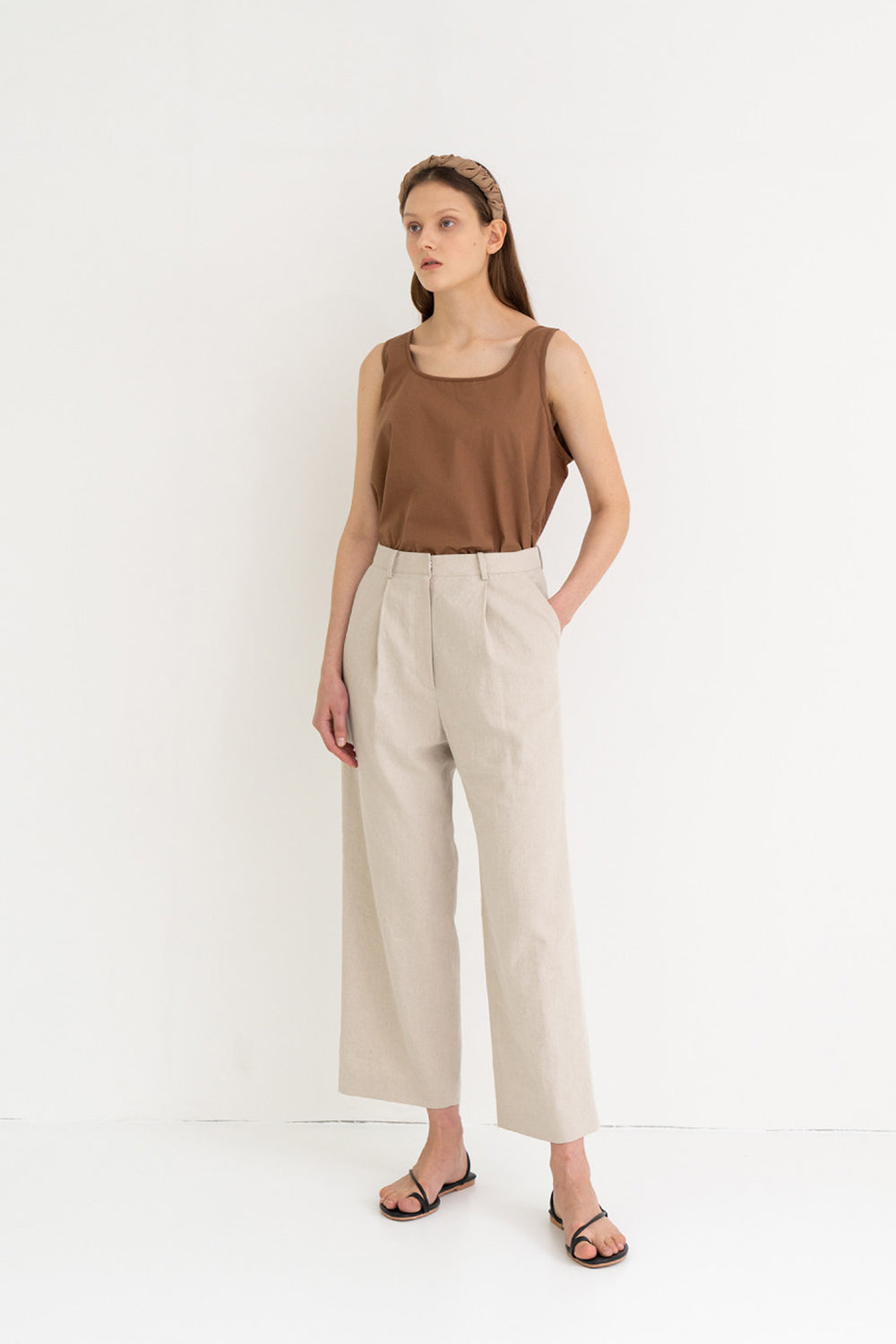 Linen Semi Wide Pants Beige