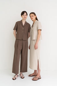 Linen Semi Wide Pants Brown