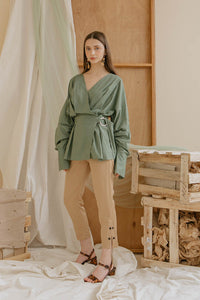 Le Bijou Jayden Wrap Top in Sage Green Modest V-Neck Blouse with Loose Long Sleeves, Gathered Waist, Side Buckle