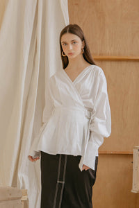 Le Bijou Jayden Wrap Top in White Modest Long-Sleeve Women's Loose Blouse with Side Buckle, Waist Belt