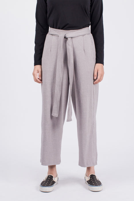Muzca Sybil Side Slith Pants In Grey Modest Loose Women Ankle Trousers with Belt, Pockets in 100% Cotton