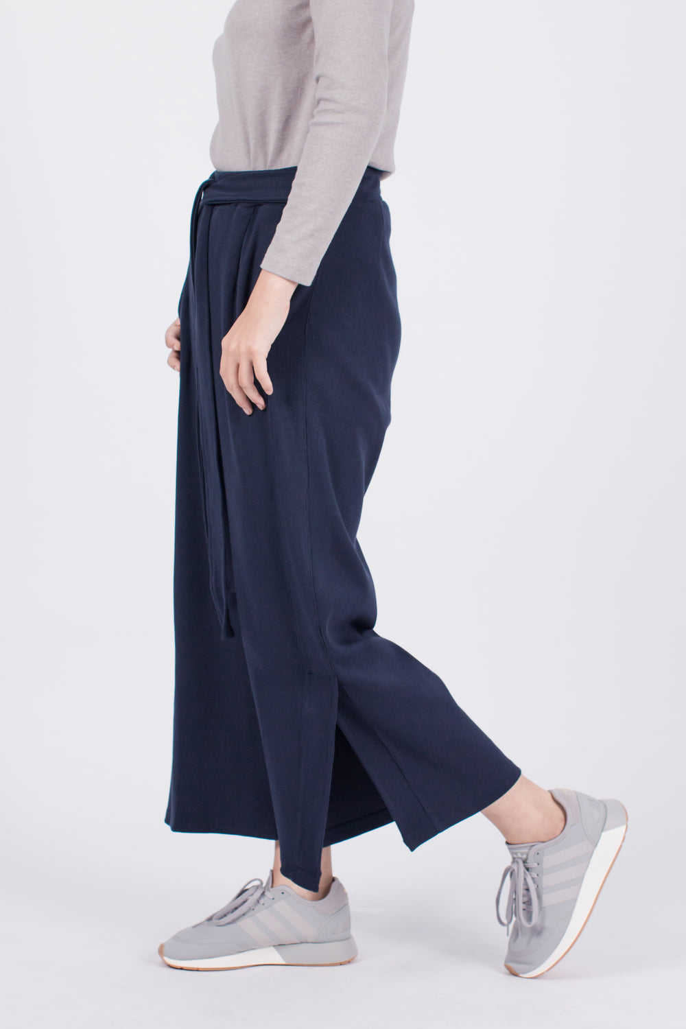 Muzca Sybil Side Slith Pants In Navy Modest Loose Fitting Women Trousers in Navy with Belt Sash, Pockets, Slit in 100% Cotton