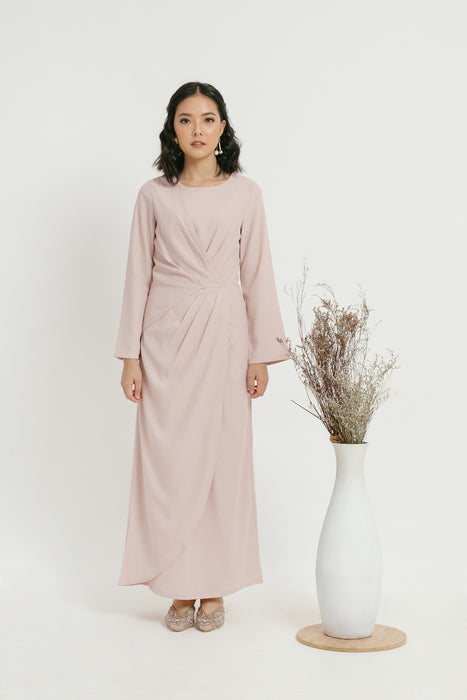 Cloth Inc Modest Laila Overlap Pleat At The Waist Pink Rose Long Sleeves Maxi Dress