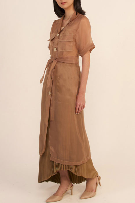 módni Tawny Short Sleeve organza Outer Modest See-Through Below-The-Knee Shirt Dress With Buttons, Chest Pockets, Belt