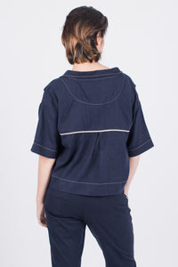 Muzca Dixie Linen Shirt Modest Navy Denim Cropped Top with Collar and White Lining Pockets in 100% Cotton