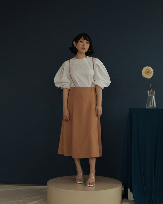 Manda Pinafore Skirt in Pearwood