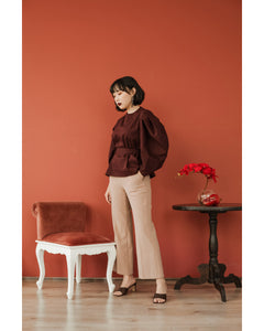 Marlie Cotton Top in Burgundy