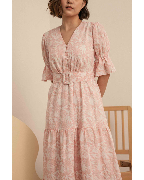 Marvene Dress in Pink Flowers