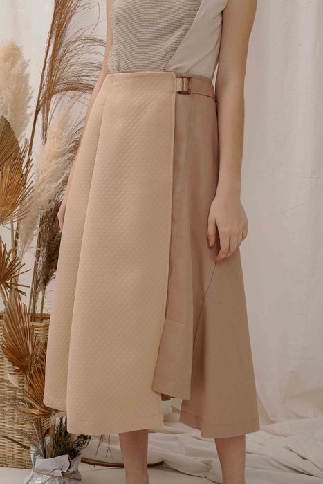 Le Bijou Moira Apron Skirt In Tan Modest Loose Fitting Reversible Midi Beige Skirt with Buckle and Front Buttons in Cotton