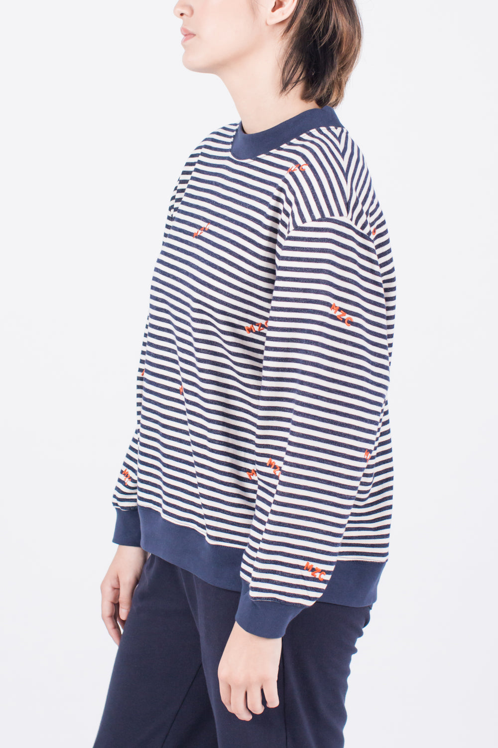 MZC Oversized Sweatshirt Modest Women Stripe Navy Pullover with Logo in 100% Cotton