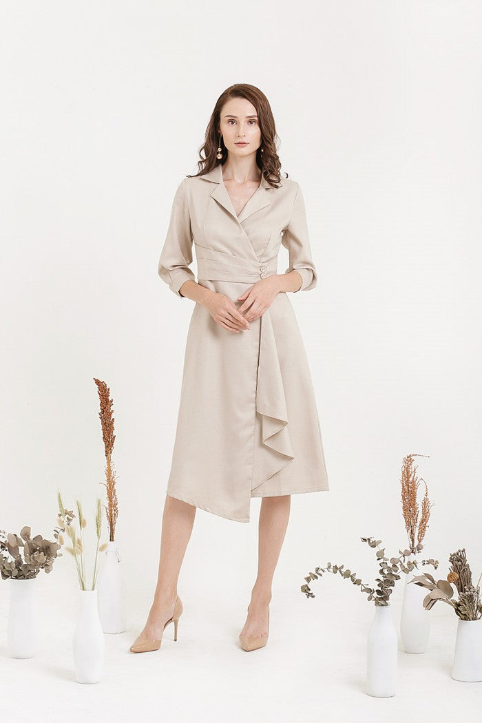 Cloth Inc Overlap Drapery Midi Dress In Light Beige Modest Knee Length Dress  with Sleeves 4a31c2f56