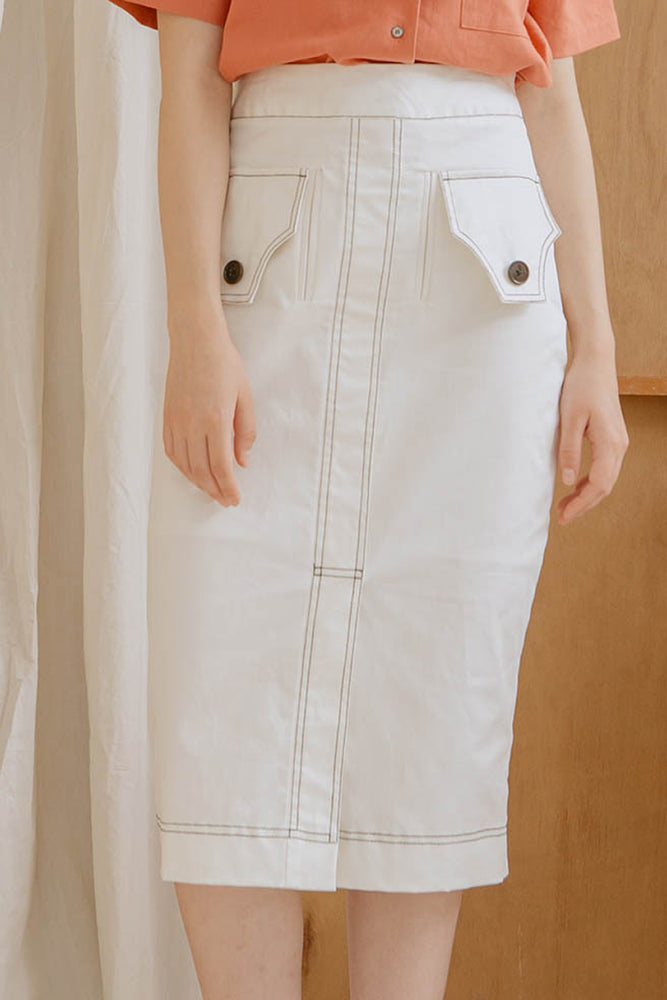 Le Bijou Piper Contrast Stitched Skirt in White | Modest Below The Knee Skirt With Buttoned Front Pockets, Contrast Stitching in Cotton