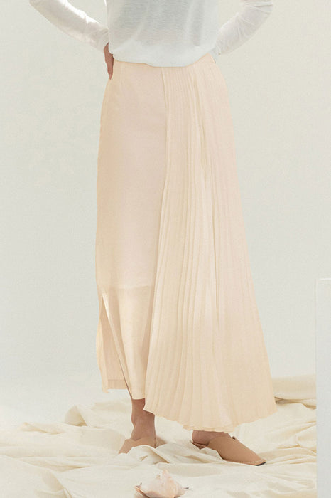Pleats Wing Long Skirt - Pink Beige
