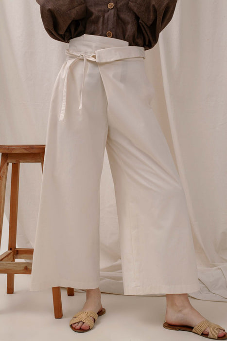 Le Bijou Rio Wide Leg Pants In Ivory White Modest Loose Pants with Tie Front and High Waist in Cotton