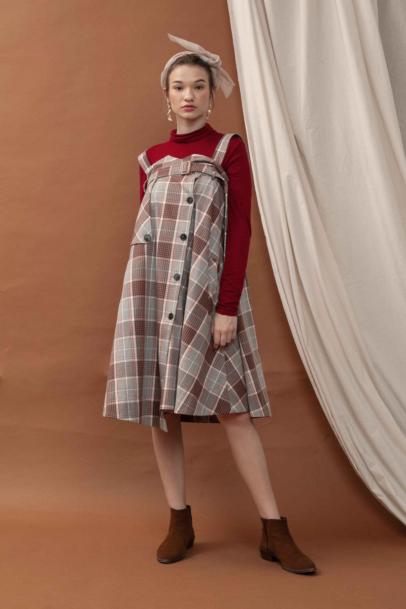 Rosette Tartan Skirt Dress in Coral