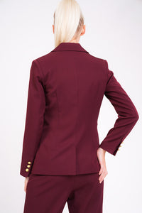 Unique21 Berry Blazer With Gold Button Detail Modest Red Jacket with Single Front Gold Button and Gold Buttons on Lapel and Sleeves with Front Pockets