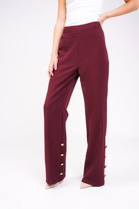 Unique21 Wide Leg Trouser With Gold Buttons in Berry Modest Straight Fit Red Pants in Loose Fit