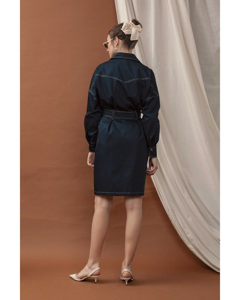 Le Bijou Sidney Utility Dress in Navy Modest Loose Shirt Dress with Long Sleeves and Contrast White Stitching