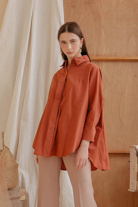 Le Bijou Skylar Oversized Shirt in Dusty Cedar Modest Loose-Fitting Blouse Long Sleeves Front Buttons Collared Neckline