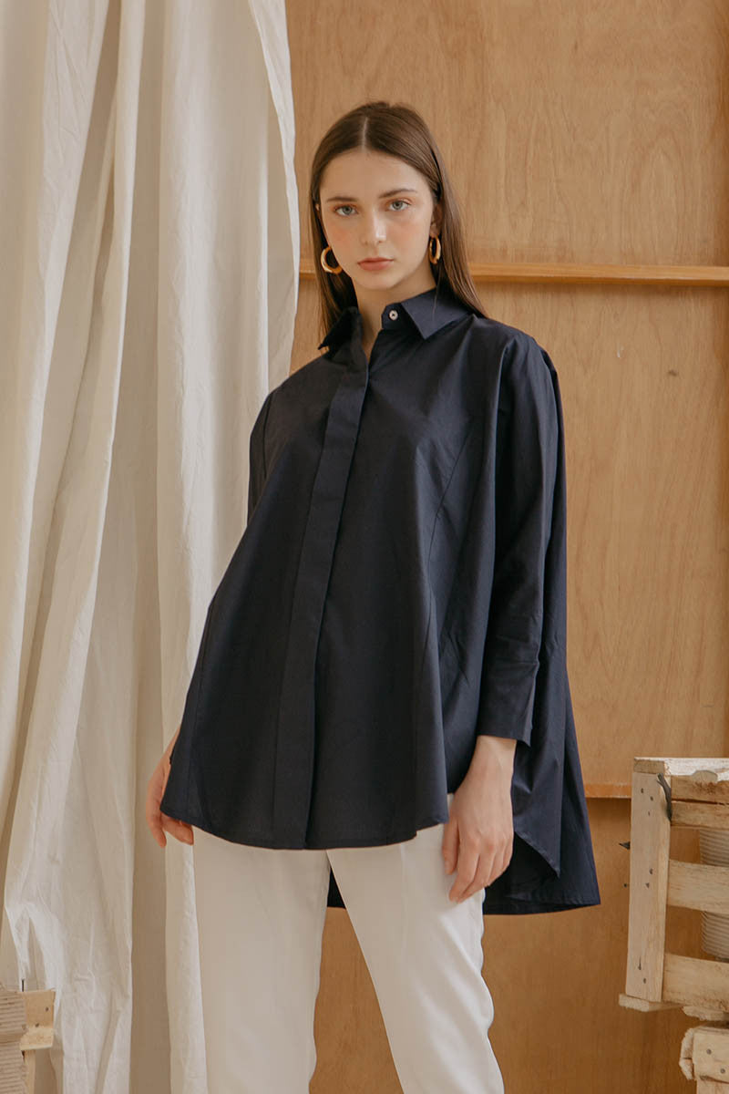 Le Bijou Skylar Oversized Shirt in Dusty Cedar Modest Relaxed Fit Top Loose Sleeves Asymmetrical Back in Cotton Poplin